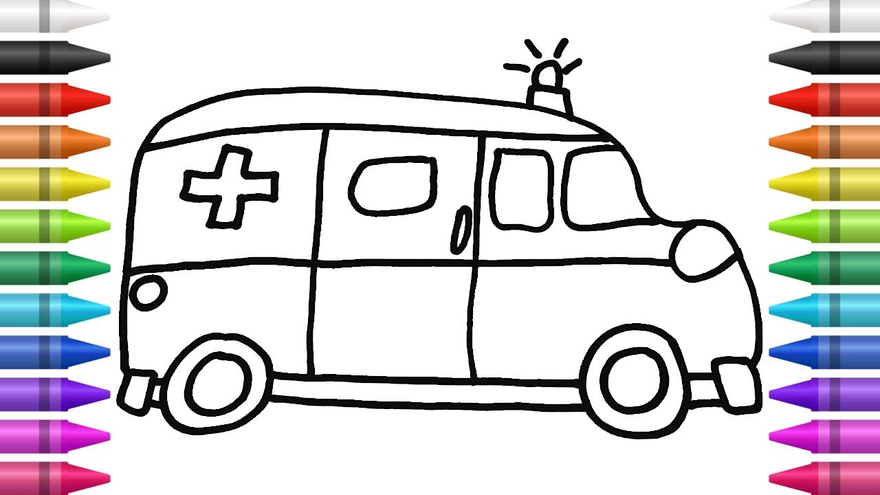 كيفية رسم و تلوين سيارة اسعاف كيدسات